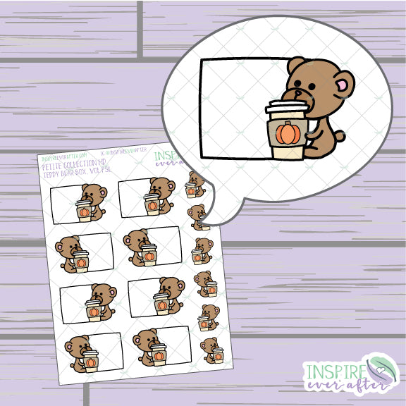Teddy Bear Box, Vol PSL ~ Hand Drawn Petite Collection ~ Planner Stickers