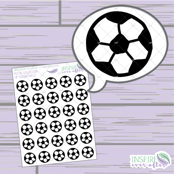 Soccer Balls ~ Hand Drawn Petite Collection Sport Icon ~ Planner Stickers