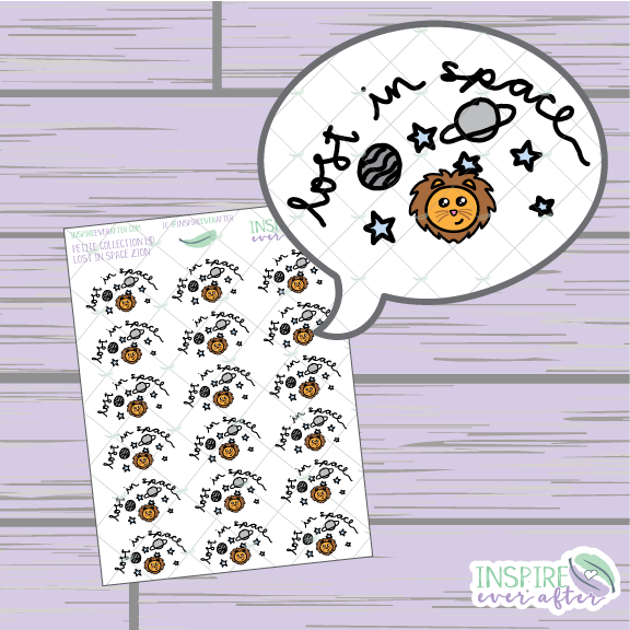 Zion the Lion Lost in Space ~ Hand Drawn Characters ~ Planner Stickers