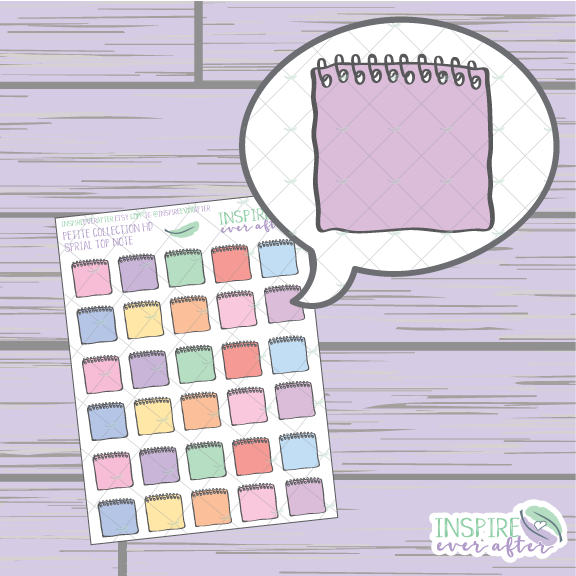 Colorful Mini Spiral Top Notebook ~ Hand Drawn Petite Collection ~ Planner Stickers