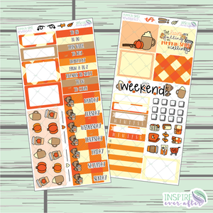 Pumpkin Spice PPWeeks Weekly Kit ~ Hand Drawn Functional Planner Stickers