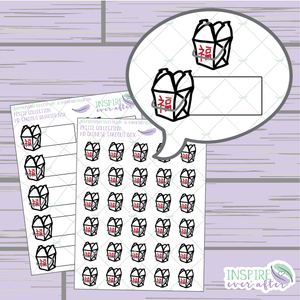 Asian Takeout Boxes ~ Hand Drawn Petite Collection ~ Food Icons ~ Planner Stickers