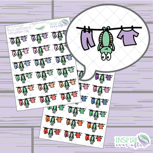 Theo the Turtle Laundry Line ~ Pastel OR Bright ~ Hand Drawn Cleaning Icon ~ Petite Collection ~ Planner Stickers
