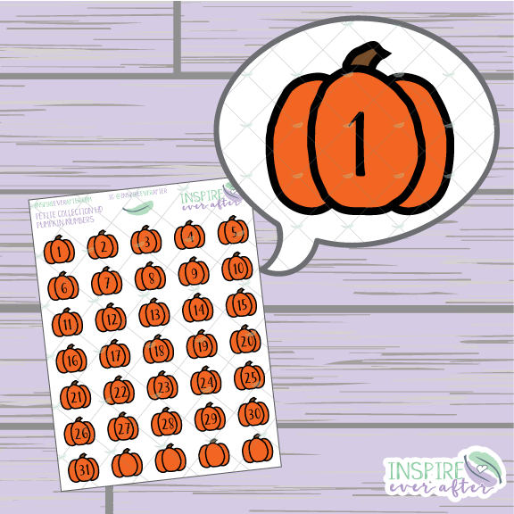 Pumpkin Numbers/ Date Covers/ Countdown ~ Hand Drawn Petite Collection ~ Planner Stickers