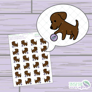 Puppy Playing with Ball ~ Hand Drawn Petite Collection ~ Planner Stickers