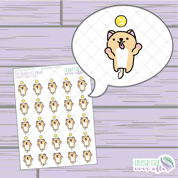 Puppy Fetch Time ~ Hand Drawn Petite Collection ~ Planner Stickers