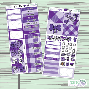 Purple Plaid PPWeeks Weekly Kit ~ Hand Drawn Functional Planner Stickers