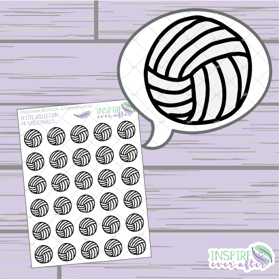 Volleyballs ~ Hand Drawn Petite Collection Sport Icon ~ Planner Stickers
