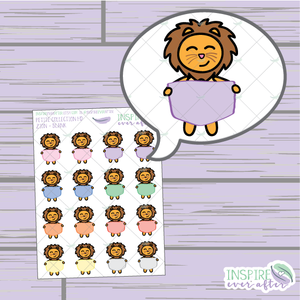 Zion the Lion Blank Sign ~ Hand Drawn Petite Collection ~ Planner Stickers