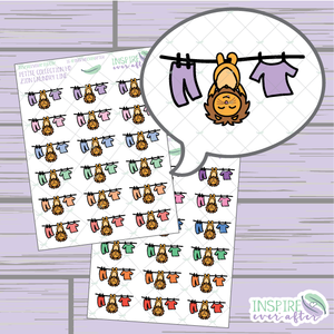 Zion the Lion Laundry Line ~ Pastel OR Bright ~ Hand Drawn Cleaning Icon ~ Petite Collection ~ Planner Stickers