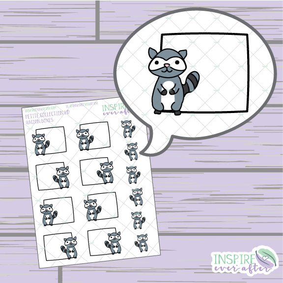 Raccoon Box ~ Hand Drawn Petite Collection ~ Planner Stickers