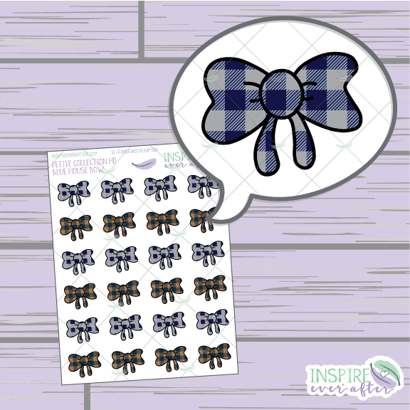 Magical Blue House Bows ~ Hand Drawn Petite Collection ~ Planner Stickers
