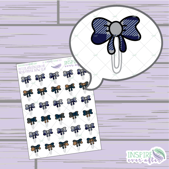 Magical Blue House Bow Clip ~ Hand Drawn Petite Collection ~ Planner Stickers