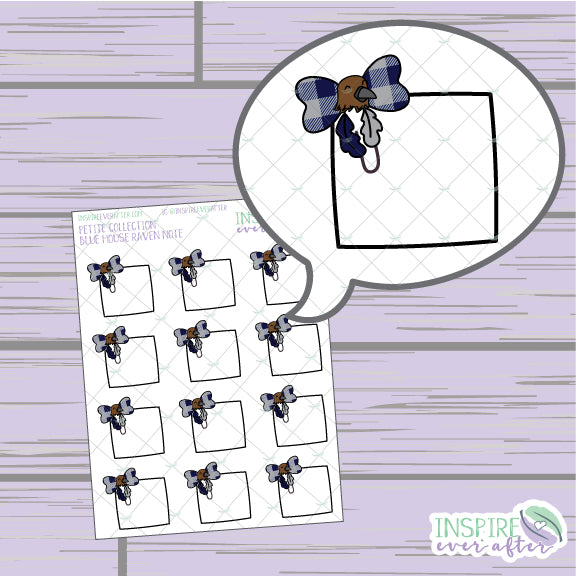 Magical Blue House Raven Bow Clip Note ~ Hand Drawn Petite Collection ~ Planner Stickers