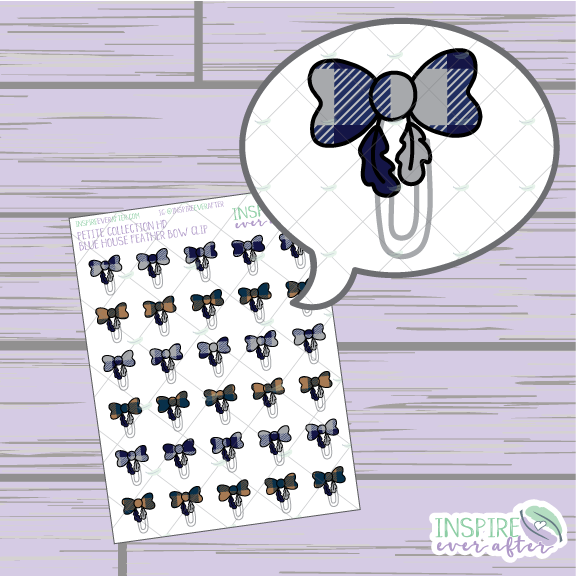 Magical Blue House Feather Bow Clip ~ Hand Drawn Petite Collection ~ Planner Stickers