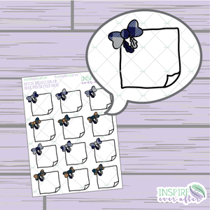 Magical Blue House Feather Bow Folded Note ~ Hand Drawn Petite Collection ~ Planner Stickers