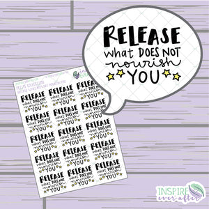 Release What Does Not Nourish You ~ Hand Drawn Positive Affirmation Petite Collection ~ Planner Stickers