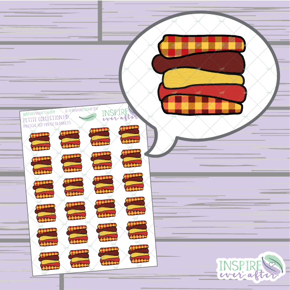Magical Red House Blanket Stack ~ Hand Drawn Petite Collection ~ Planner Stickers