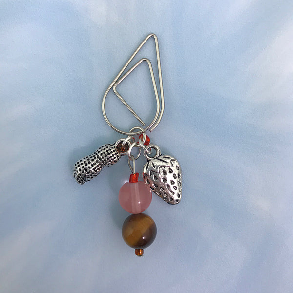 Strawberry & Peanut Butter Dangle Clip ~ Inspireology Charms ~ Handmade Planner Accessories