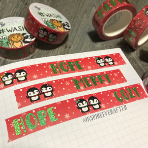 Red Winter Penguin Love Foil Washi Roll ~ Hand Drawn Inspireology Positive Affirmation Planner Accessories