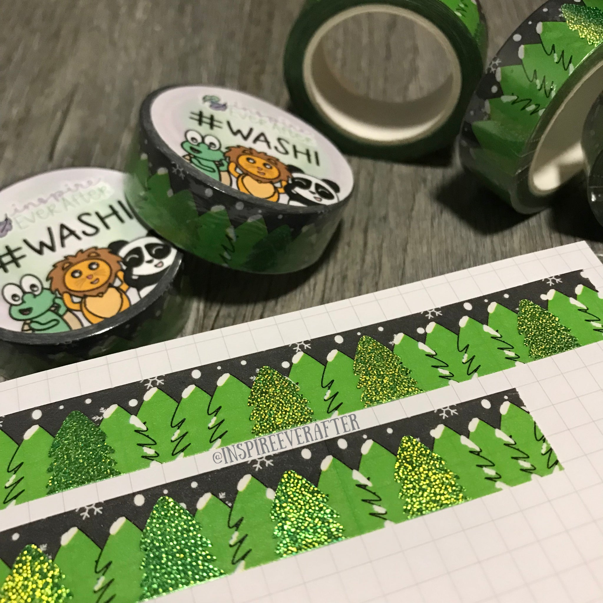 Winter Night Trees Green Foil Washi Roll ~ Hand Drawn Nature ~ Planner Accessories