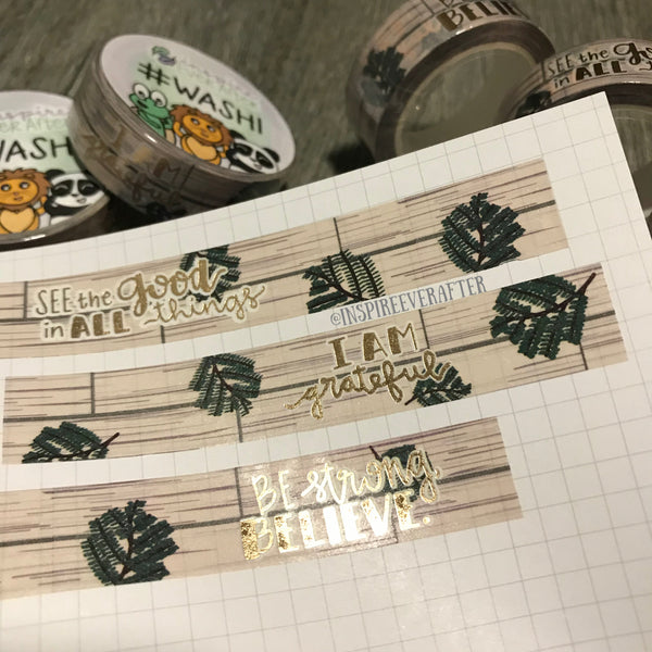 Rustic Wood & Branches Gold Foil Washi Roll ~ Hand Drawn Inspireology Positive Affirmation & Nature ~ Planner Accessories