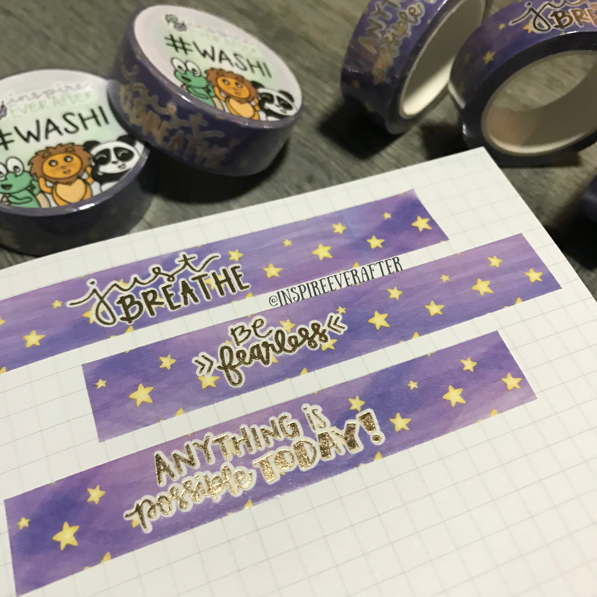 Starry Purple Galaxy Gold Foil Washi Roll ~ Hand Drawn Inspireology Positive Affirmation Planner Accessories