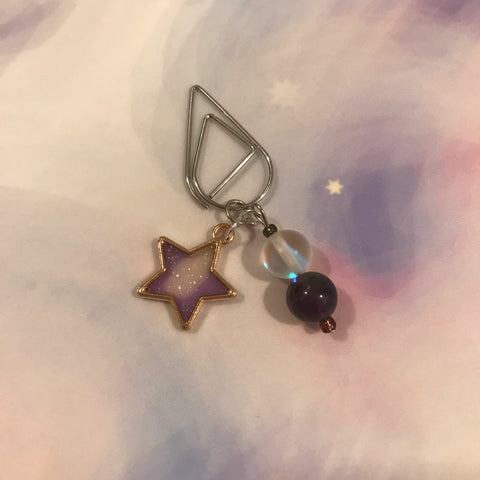 Star Galaxy Dangle Clip ~ Choose Your Star Color! ~ Inspireology Charms ~ Handmade Galaxy Planner Accessories