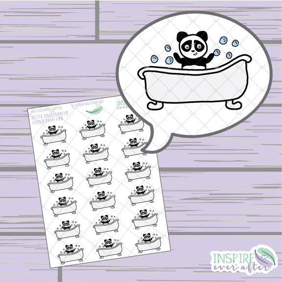 Stevie the Panda Bath Time Icon ~ Hand Drawn Petite Collection ~ Planner Stickers
