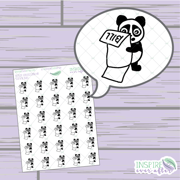 Stevie the Panda Bill Icon ~ Hand Drawn Petite Collection ~ Planner Stickers