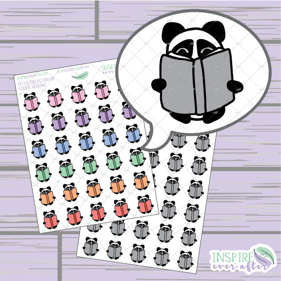 Stevie the Panda Reading Book Icon ~ Colorful OR Neutral ~ Hand Draw Petite Collection ~ Planner Stickers