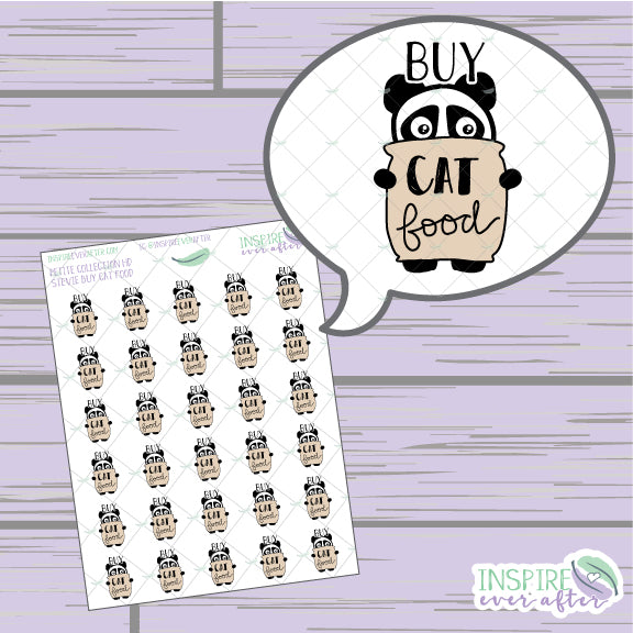 Stevie the Panda Buy Cat Food Icon ~ Hand Drawn Petite Collection ~ Planner Supplies