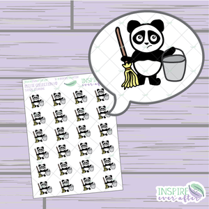 Stevie the Panda Cleaning ~ Hand Drawn Petite Collection ~ Planner Stickers