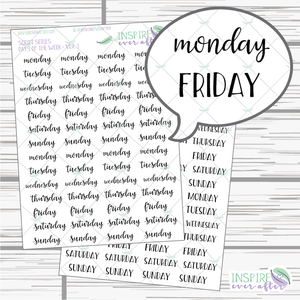 Days of the Week ~ Script OR Print ~ Script Series ~ Planner Stickers