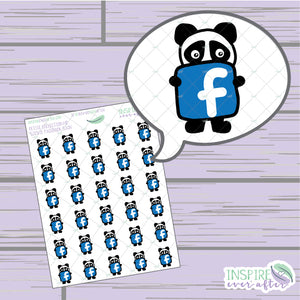 Stevie the Panda Facebook Icon ~ Hand Drawn Petite Collection ~ Planner Stickers