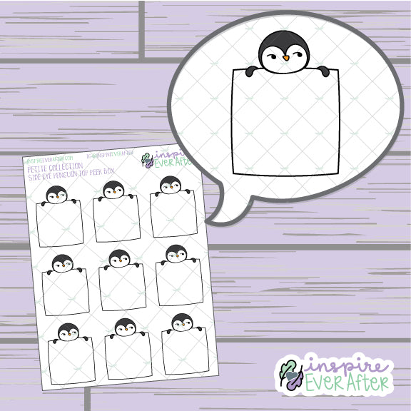 Side Eye Penguin Top Peek Box ~ Hand Drawn Animal Doodles ~ Petite Collection ~ Planner Stickers