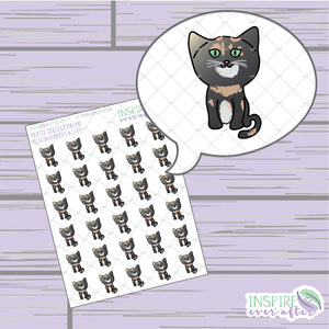 Sittin' Pretty Kitty ~ Hand Drawn Petite Collection ~ Planner Stickers