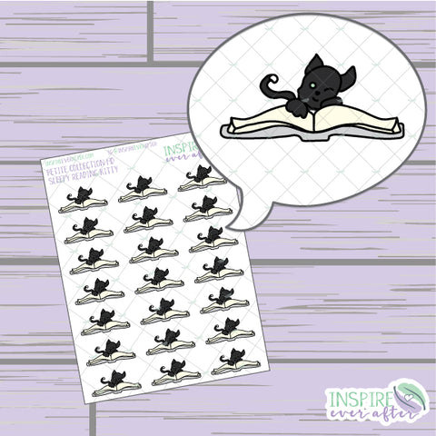 Sleepy Reading Kitty ~ Hand Drawn Petite Collection ~ Planner Stickers