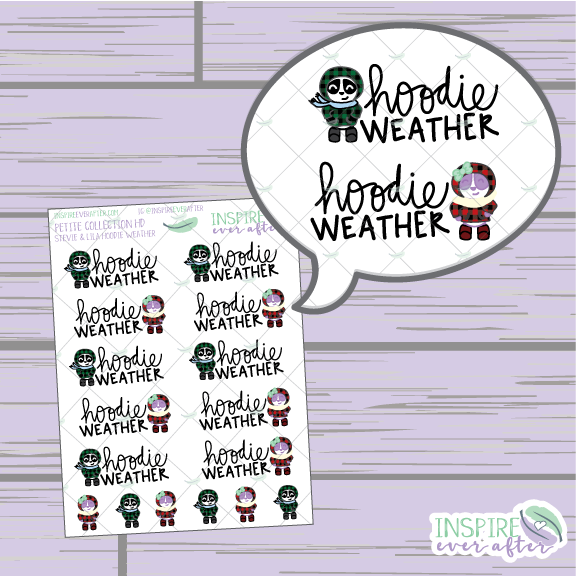 Stevie & Lila the Pandas ~ Hoodie Weather ~ Hand Drawn Petite Collection ~ Planner Stickers