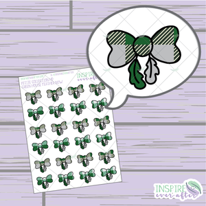 Magical Green House Feather Bows ~ Hand Drawn Petite Collection ~ Planner Stickers