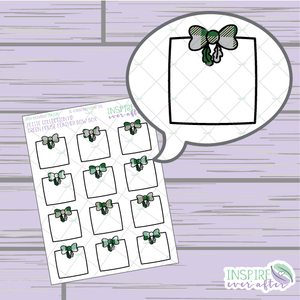 Magical Green House Feather Bow Box ~ Hand Drawn Petite Collection ~ Planner Stickers