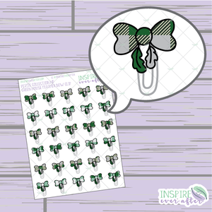 Magical Green House Feather Bow Clip ~ Hand Drawn Petite Collection ~ Planner Stickers