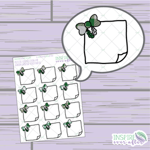 Magical Green House Feather Bow Folded Note ~ Hand Drawn Petite Collection ~ Planner Stickers