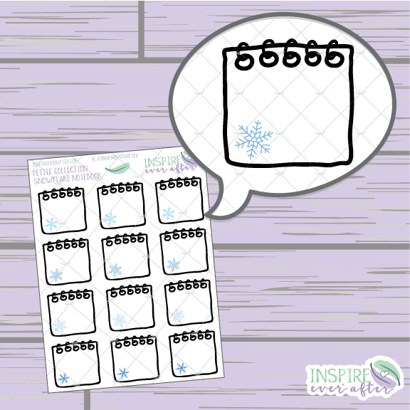 Snowflake Notebook ~ Hand Drawn Spiral Notebook ~ Petite Collection ~ Planner Stickers