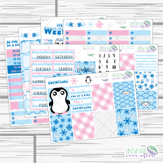 Snowflake Weekly Kit ~ Planner Stickers
