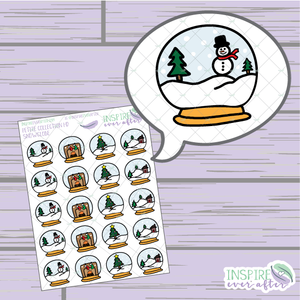 Snow Globe Icons ~ Hand Drawn Petite Collection ~ Planner Stickers