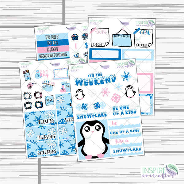 Snowflake Mini Weekly Kit ~ Planner Stickers