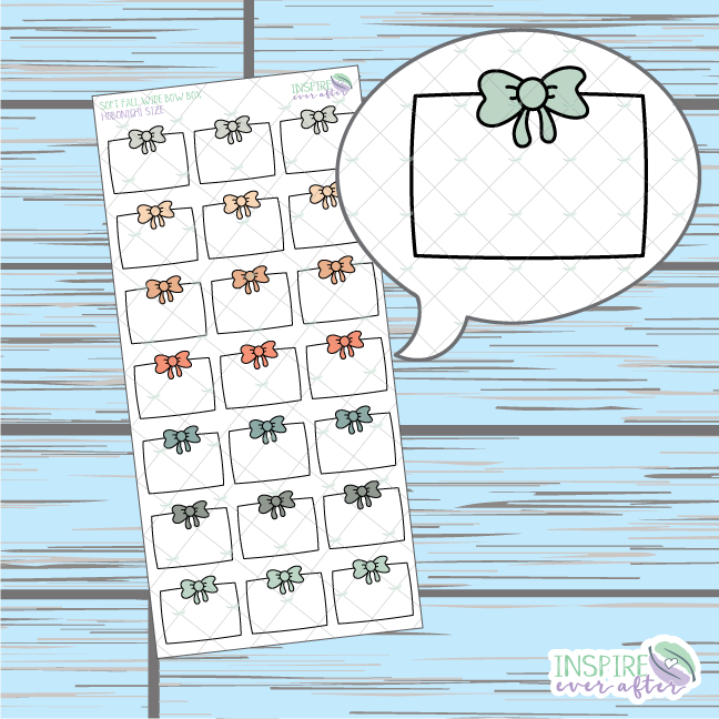 Soft Fall Wide Bow Box Doodle ~ Hand Drawn Hobonichi Functionals ~ Planner Stickers