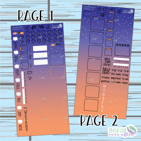Southern Sunset Hobonichi Weekly Kit ~ Hand Drawn Planner Stickers