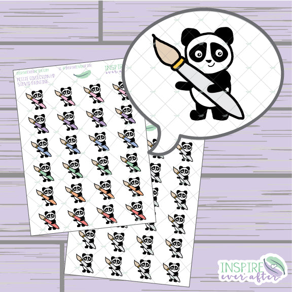 Stevie the Panda Paint Brush Icon ~ Colorful OR Neutral ~ Hand Drawn Petite Collection ~ Planner Stickers